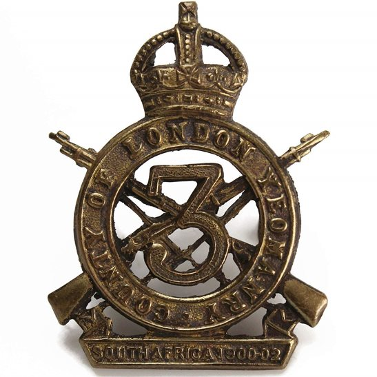 London Battalions 3rd Sharpshooters Battalion, County of London Yeomanry Regiment Cap Badge