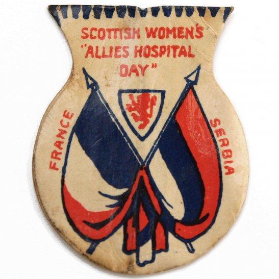WW1 French & Serbian War Effort Scottish Womens Flag Day Fundraising Pin Badge