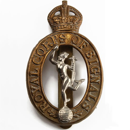 Royal Corps of Signals RCOS WW2 Royal Corps of Signals RCOS Cap Badge