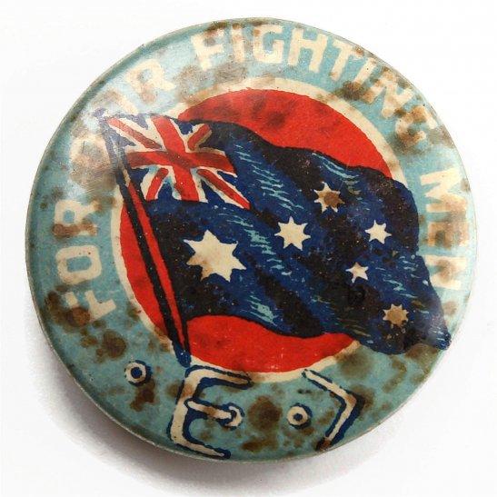 WW1 ANZAC Fighting Men Australian Flag Day War Effort Fundraising Charity Pin Badge