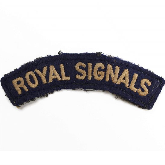 Royal Corps of Signals RCOS WW2 Royal Corps of Signals RCOS Cloth Shoulder Title Badge Flash