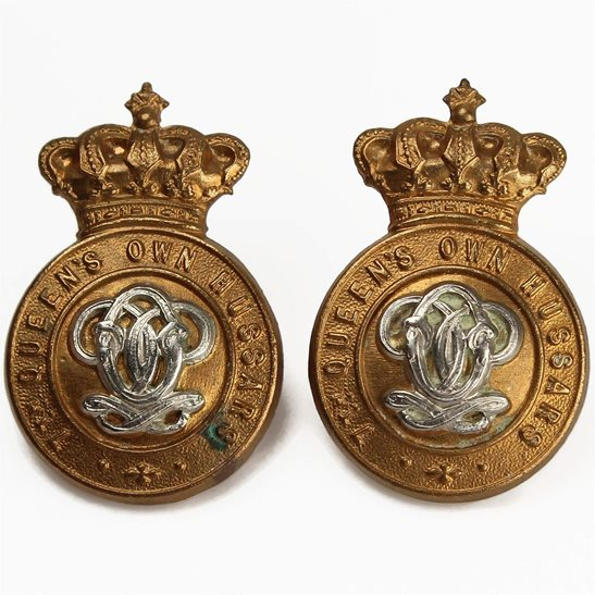 7th Hussars VICTORIAN 7th Queens Own Hussars Regiment (Queen's) Collar Badge PAIR