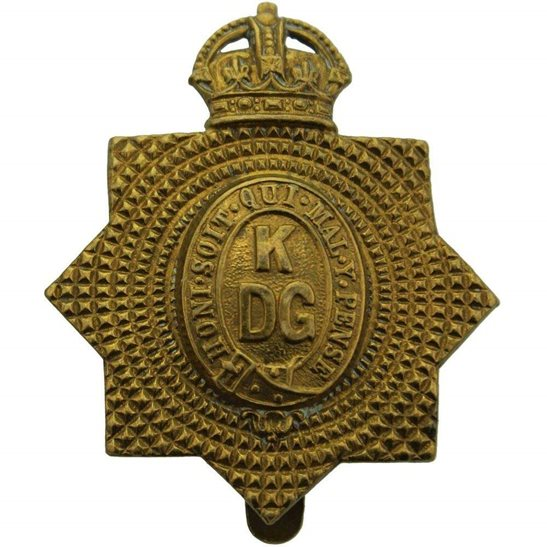 1st Kings Dragoon Guards WW1 1st Kings Dragoon Guards Regiment KDG (King's) ALL BRASS Cap Badge - Economy Issue