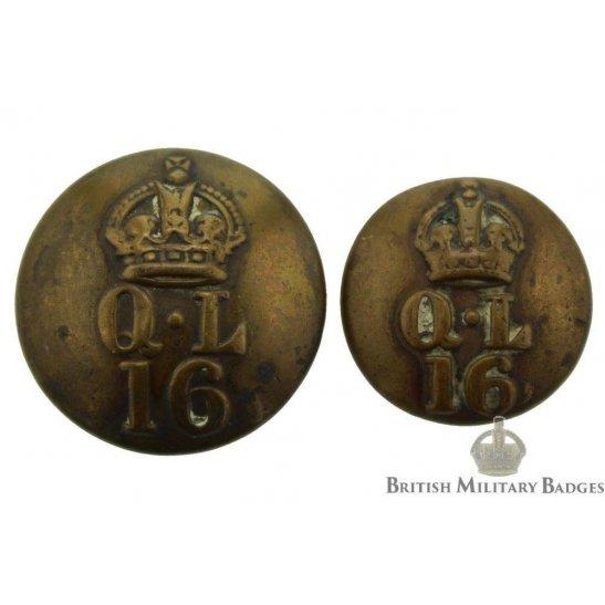 16th Lancers Regiment Tunic Button Set - 23mm & 19mm