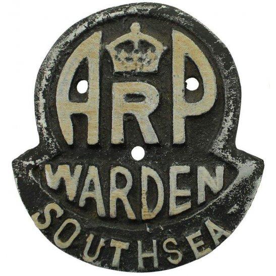 Air Raid Precautions ARP WW2 Air Raid Precautions Warden Southsea ARP Post Metal Door Plaque Sign