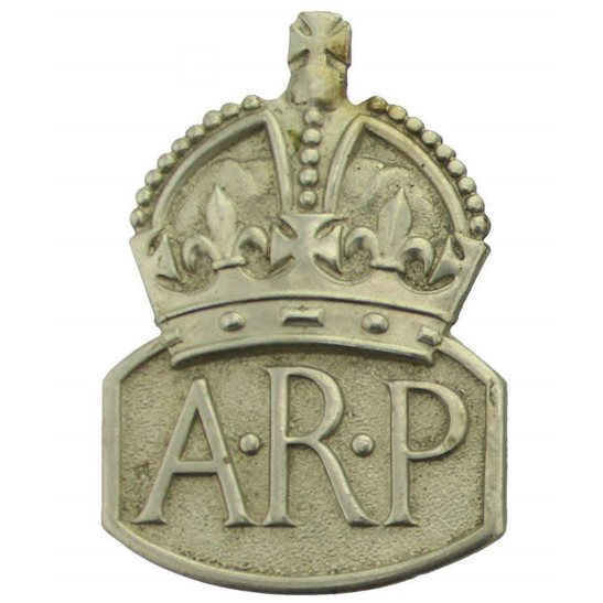 Air Raid Precautions ARP WW2 ARP Warden (Air Raid Precautions) Silver Lapel Badge - LADIES VERSION