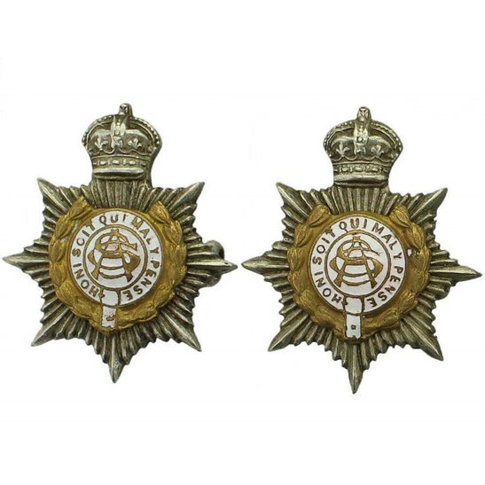 Army Service Corps ASC WW1 Army Service Corps ASC OFFICERS Collar Badge PAIR