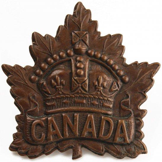 WW1 Canadian Army WW1 Canadian Army / Canada Corps CEF Cap Badge - PW ELLIS & CO 1914 Makers Mark