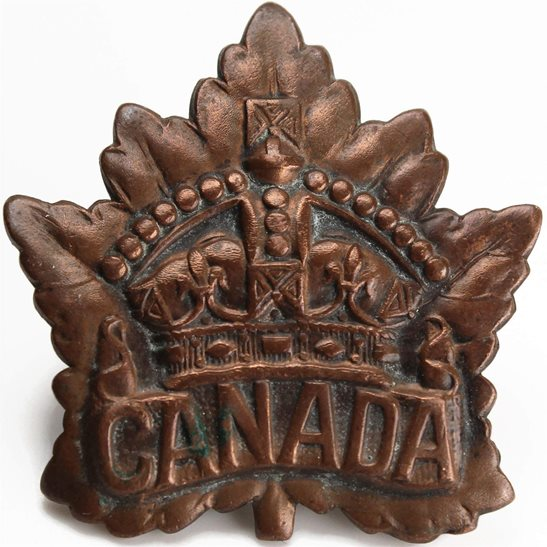 WW1 Canadian Army WW1 Canadian Army / Canada Corps CEF Cap Badge - RODEN BROS Makers Mark