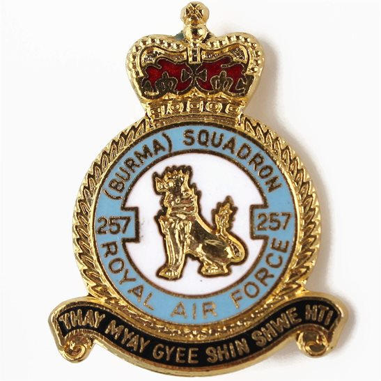 RAF Squadrons 257 Burma Squadron Royal Air Force RAF Lapel Badge