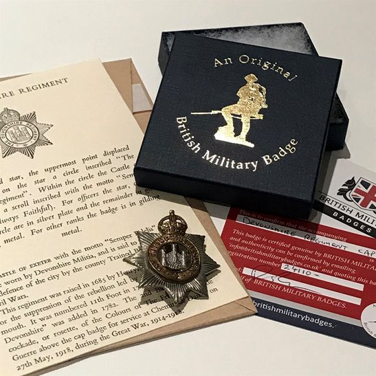 Devonshire Regiment Devonshire Regiment Devon Cap Badge in Presentation Gift Box