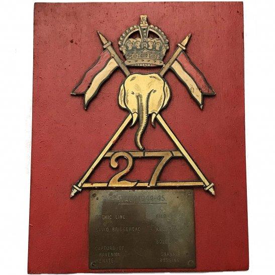 27th Lancers WW2 Raised 27th Lancers Regiment Battle Honours Wooden Plaque Badge
