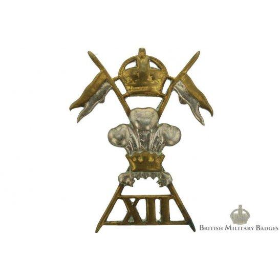 12th Royal Lancers Regiment Cap Badge - EDWARDIAN