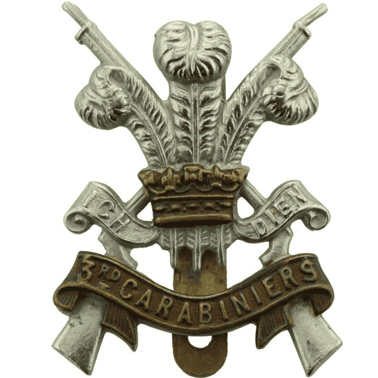 3rd Carabiniers WW2 3rd Carabiniers (Prince of Wales's Dragoon Guards) Regiment Cap Badge