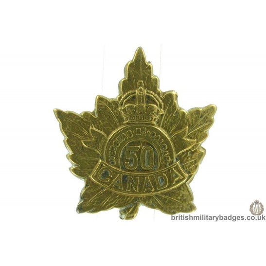 50th (Calgary) Canadian Overseas Battalion CEF Collar Badge