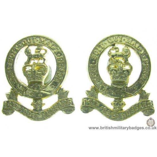 F1C/12  14th / 20th Hussars Regiment Staybrite Collar Badge Pair