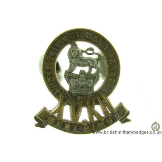 A1D/16 - 15th Kings Hussars Regiment VICTORIAN Cap Badge
