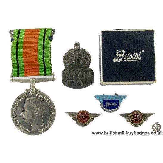 GM/39 Rare Set Bristol Aircraft Company Lapel Badges & WW2 Medal