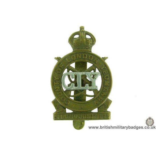 A1F/71 - County of London Yeomanry Regiment Cap Badge J.R. GAUNT