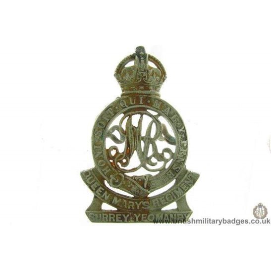 A1G/44 - Surrey Yeomanry (Queen Mary's) Regiment Cap Badge