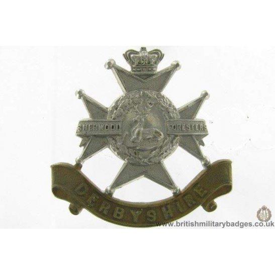 A1G/75 - VICTORIAN Derbyshire Regiment Cap Badge