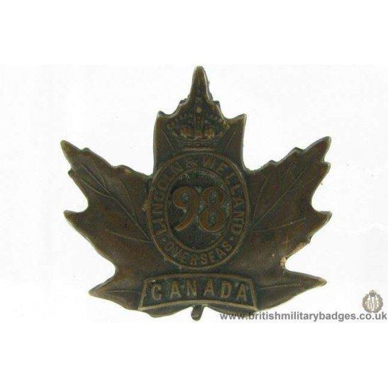 A1G/82 - 98th (Lincoln & Welland) Overseas Battalion Cap Badge