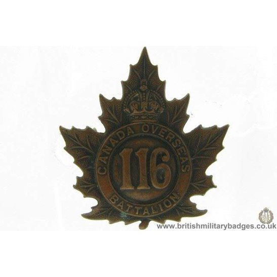 A1G/83 - 116th (Onatrio County) Overseas Battalion CEF Cap Badge
