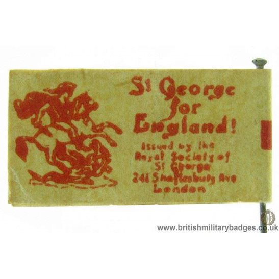 K1B/78 - WW1 St George of England Flag Day Fundraising Pin Badge