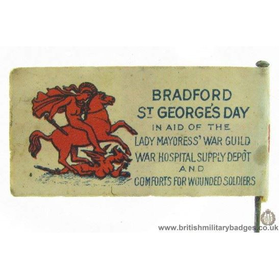 K1C/22 WW1 Bradford St. Georges Day War Hospital Flag Pin Badge