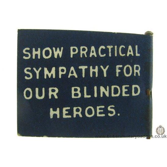 additional image for K1C/28  WW1 Practical Sympathy Blinded Heroes Flag Day Pin Badge