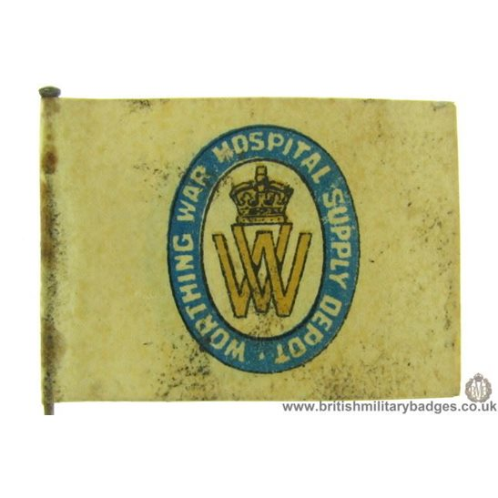 K1C/77 - WW1 Worthing War Hospital Supply Depot Flag Badge