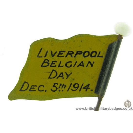 K1D/02 - WW1 Liverpool Belgian Day 5th December 1914 Flag Badge