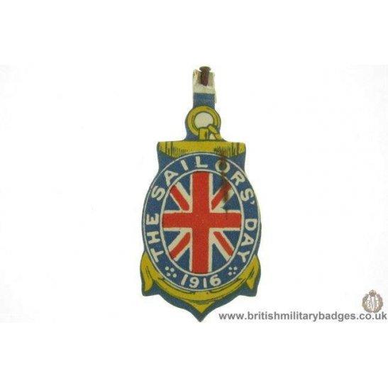 K1D/03 - WW1 Royal Navy Sailors Day 1916 Fund Flag Day Badge