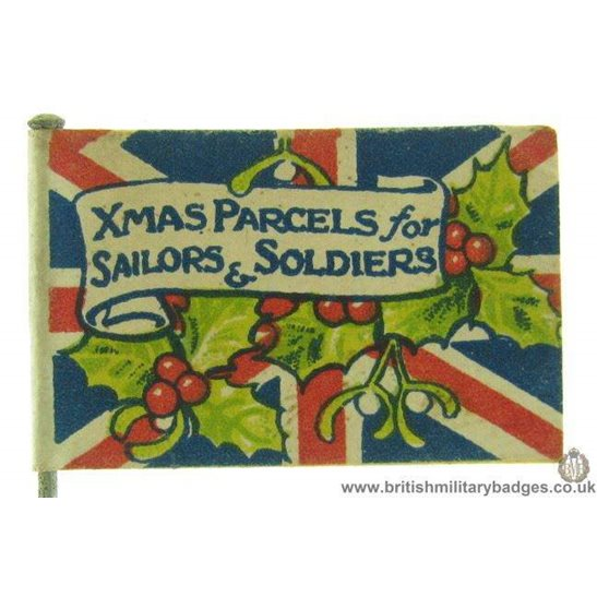 """K1D/12 WW1 """"Xmas Parcels for Sailors & Soldiers"""" Flag Day Badge"""
