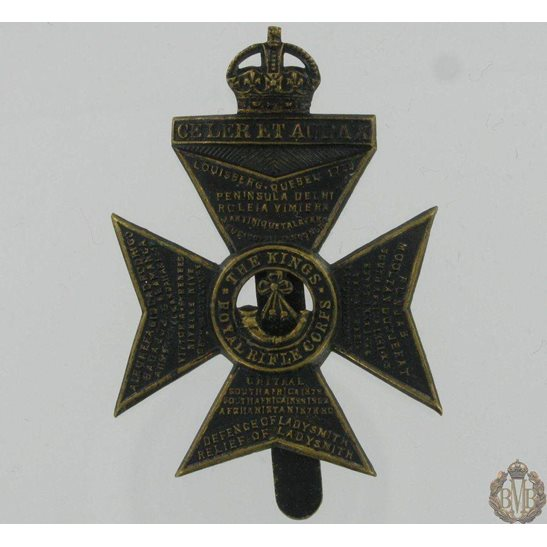 1A/039 - The Kings Royal Rifle Corps KRRC Cap Badge - King's