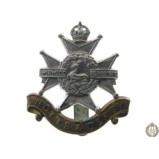 """1B/010 - Sherwood Forresters """"Notts & Derby"""" Regiment Cap Badge"""