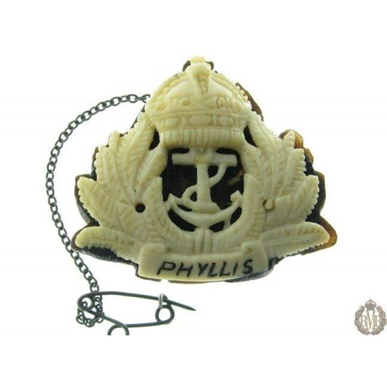 1B/049  Royal Navy HMS Phyllis Trench Art Bone Sweetheart Brooch