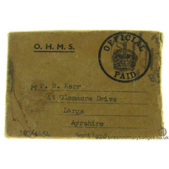 N1A/18 - Medal Issue Postage Box - Kerr, Ayrshire, RA