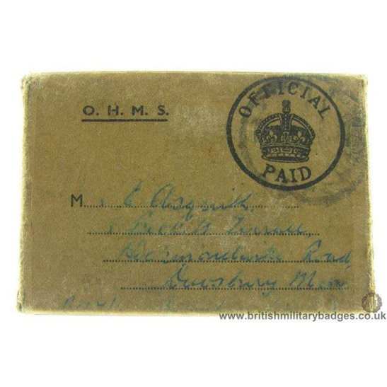 N1A/91 - Medal Issue Postage Box - Asquith, Infantry