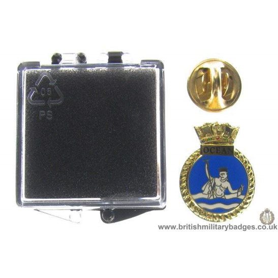 S1A/80 - HMS Ocean Royal Navy Veteran's Lapel Badge & Box