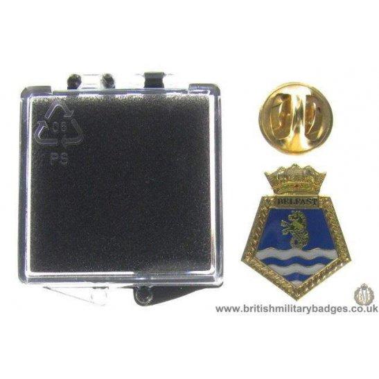 S1A/87 - HMS Belfast Royal Navy Veteran's Lapel Badge & Box